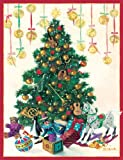 "Caspari Christmas Cards, ""Decorated Tree and, Christmas Ornaments"" Design, Box of 20 Cards with Envelopes"