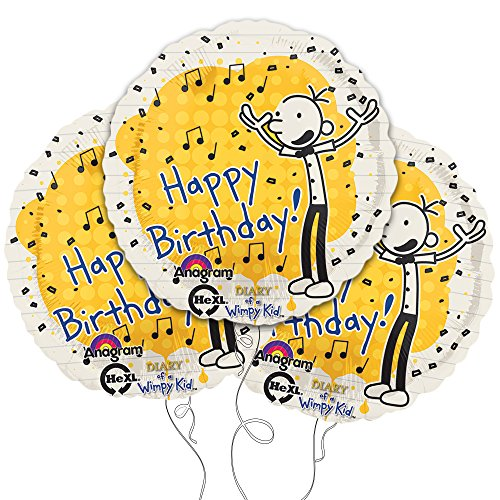 "Diary of a Wimpy Kid Happy Birthday 18"" Mylar Balloon 3pk - 1"