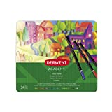 Derwent Academy Colored Pencils, 3.3mm Core, Metal Tin, 24 Count (2301938) (Color: Assorted, Tamaño: 24 Count)