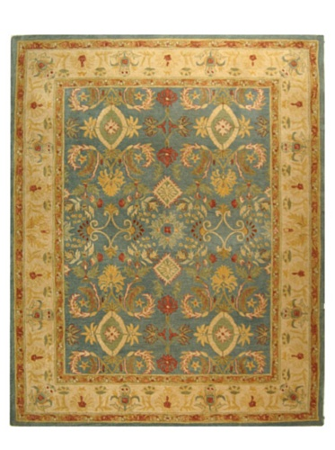 Safavieh Anatolia Collection Handmade Rug, Light Blue/Ivory, 5' x 8'