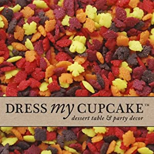 Dress My Cupcake DMC27319 Decorating Edible Cake and Cookie Confetti Sprinkles, Mini Fall Leaves, 12-Ounce