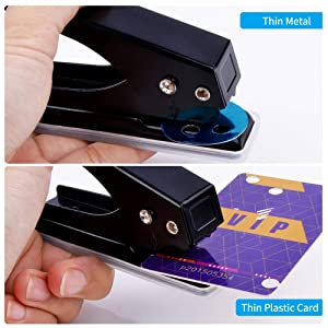 Black Paper Punch 12 Sheets Capacity Eagle Low Force 1-Hole Punch Single Hole Punch Metal 1//4-Inch Hole
