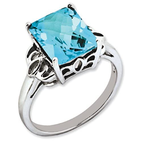 Sterling Silver Blue Topaz Ring - Ring Size Options Range: J to T