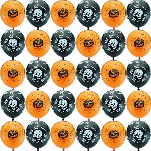 Yafeco 100pcs Halloween Decoration Skeleton Bat Pumpkin Latex Balloons (Homemade Halloween Decoration Ideas For Outside)