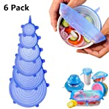 Silicone Stretch Lids, TEMEISI 6-Pack Food Guard Insta Lids, Reusable Silicon Bowl Lids Various Sizes Bowl Cover, Durable and Expandable Eco-friendly Seal Food Wrap for Containers (Blue) (Color: Blue)