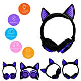LED Music Lights Earphone Foldable Cat Ear Rechargeable Headset for Iphone MP4 (Color: Purple)