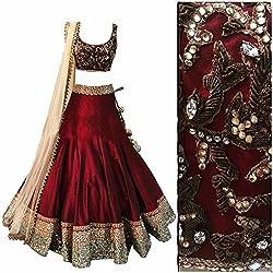 MAHAVIR FASHION Women's Maroon Benglori Silk Embroidered In Golden Jari Thread Designer Lehenga Choli (Lehenga_503_B Maroon)