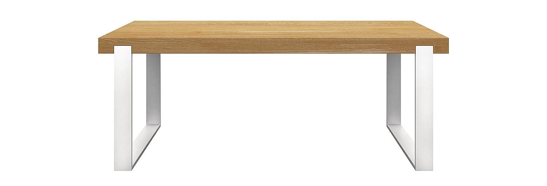 Miloni Esstisch FRAME, 160-260x90x76 cm Eichen / Massivholz ausziehbar, Tischbeine alu / weiß, holzfarbe natur