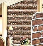 acquasea レンガ 模様 壁紙 ウォールシート アンティーク調 ダークブラウン 防水 45cm×10m DIY 糊付き 裏紙を剥がして貼り付け 室内 屋外 簡単リフォーム