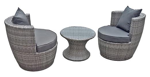 Jardinion Set mobile club, 3 pezzi, tavolo, 2 sedie con cuscini grigi, intrecciato, bar, giardino grigio ST