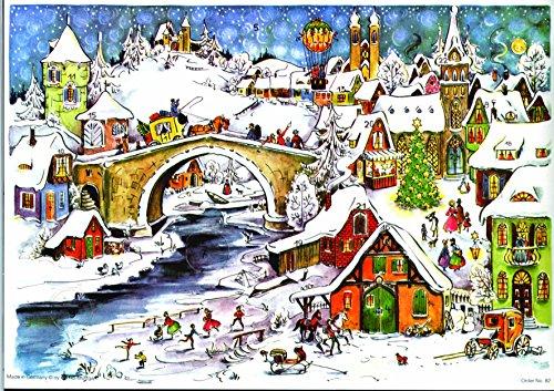 calendario-de-adviento-297-x-210-mm-24-puertas-snowscene-milou-pueblo-con-puente-con-brillo-y-ventan