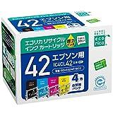 エコリカ リサイクルインクカートリッジ EPSON IC42シリーズ 4個パック IC4CL42 ECI-E424P/BOX