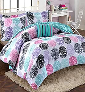 Girls teen kids modern bedding set aqua pink - Purple and pink comforter sets ...
