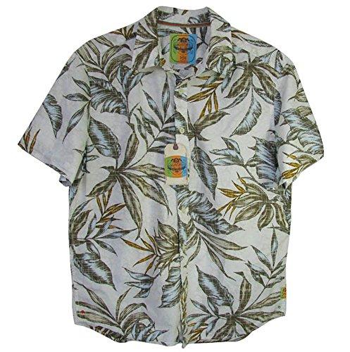 Margaritaville Mens 'Bbq Shirt - Palm Leaf' Button-Down Shirt, Cream, L