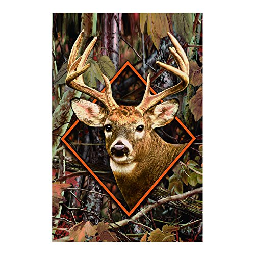 Camo Deer House Flag Outdoors Flags Of Double Sided Waterproof And Fade Resistant Printed banners 28 X 40 Inch 100% Polyester