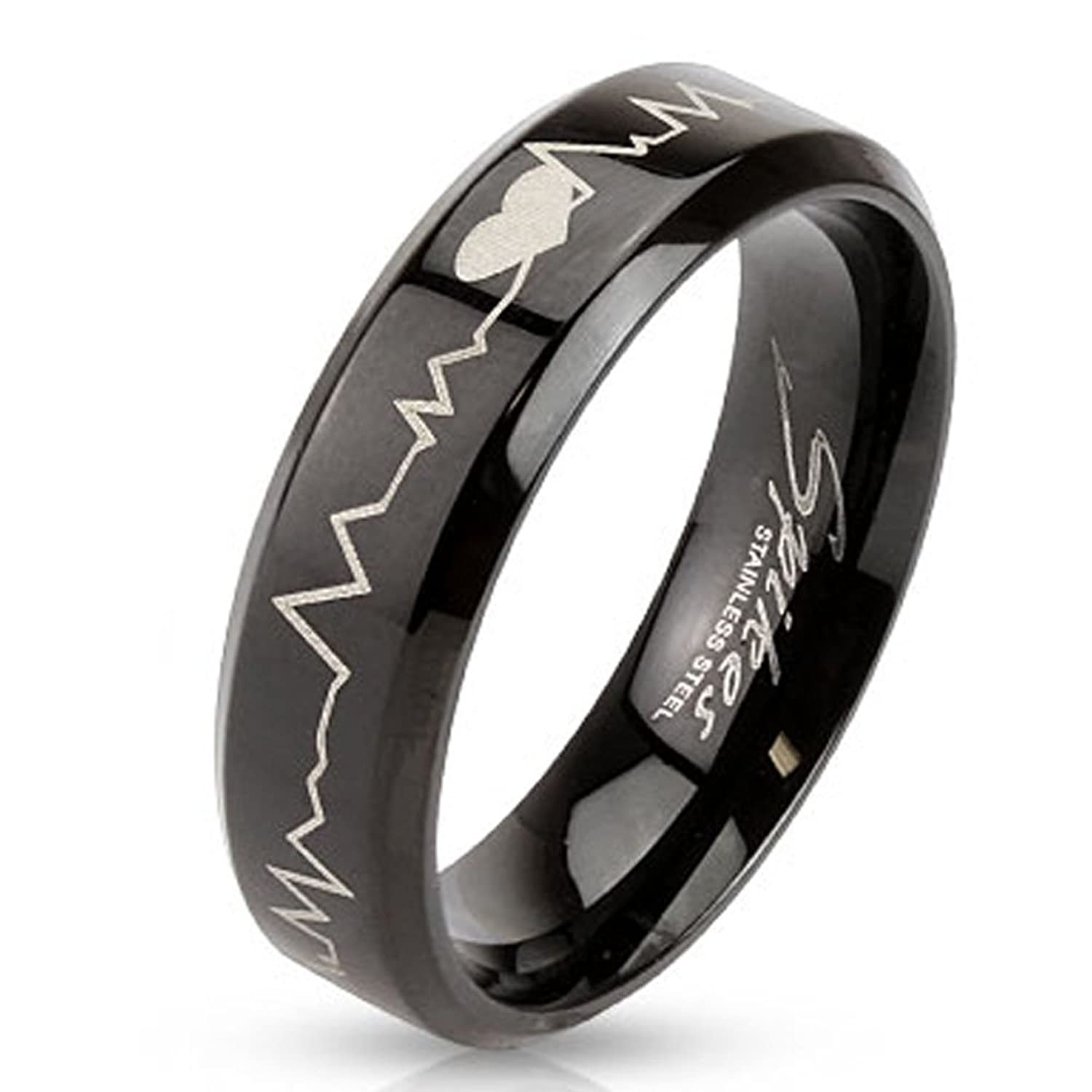 STR-0123 Stainless Steel Black IP with Heartbeat Laser Etched Band Ring