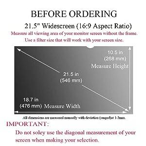 Ovimir 21.5 Inch (Diagonally Measured) Computer Privacy Screen Filter, [16:9 Aspect Ratio] for Widescreen Monitors Anti-Glare - Anti-Scratch Screen Protector - (WxH:476mmx268mm) (Color: 21.5 Widescreen (16:9 Aspect Ratio))