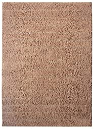 Global Accents Marrakesh Area Rugs - (5\'x8\') Stripes with Lots of Textured Pattern with Royal Moroccan Berber Look for Living, Indoor & Dining Room Accent with Cotton Natural Fibers Color Camel Brown Shag Rugs Look - Including Finest Quality Fabric Carpet