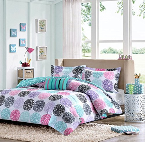 Luxury  Comforter Set Pink Teal Purple Bedding Pillows