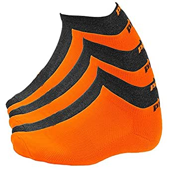New Puma- Mens 6 Pack 1/2 Terry Low Cut Athletic Socks Gray/Orange