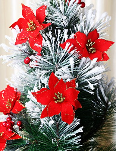 2013newestseller Pack of 30 Red Poinsettia Christmas Tree Ornaments Decorations