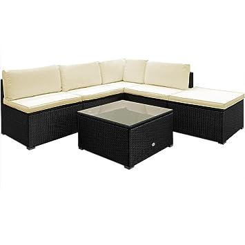 Poly Rattan Lounge Set Sitzgruppe Sitzgarnitur Gartenmöbel Gartenset Gartenliege Creme