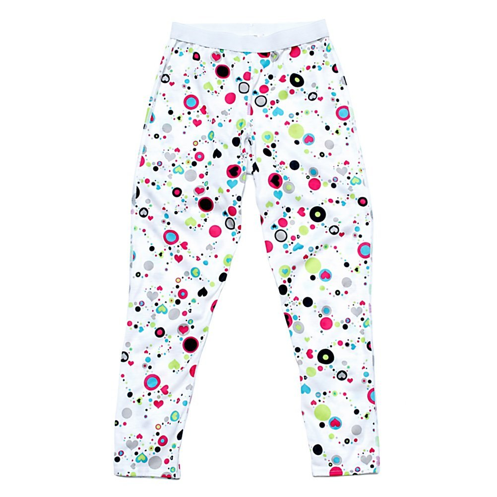 Hot Chillys Youth Pepper Skins Print Bottom - Dots & Hearts-W, SM hot