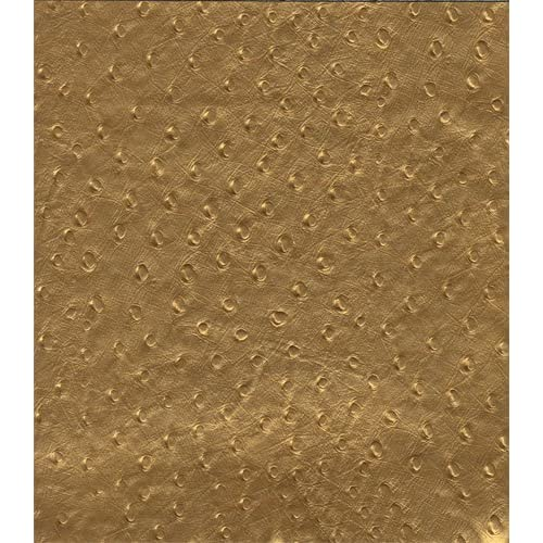 ".com: 55"" Wide Faux Leather Ostrich Metallic Gold Fabric By The yard"