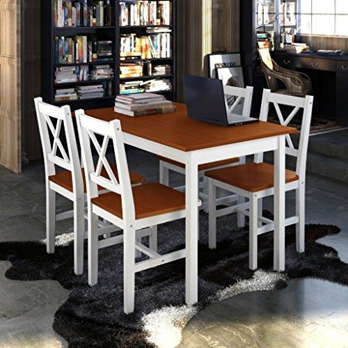 vidaXL-Holztisch4-Sthle-Mbel-Set-Wei-Brown-Tisch-Esstischset