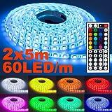 2er Set 5m NINETEC Flash60 RGB LED Strip mit 60LED/m Streifen SMD Band Dimmbar 44 Key Fernbedienung + Netzteil IP65