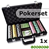 """Pokerset mit 300 Pokerchips, Koffer, W�rfel & Spielkartenvon """"Unbekannt"""""""