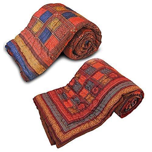 Diseño de Little India 2 piezas Juego de funda de edredón 1 multicolor algodón Razai
