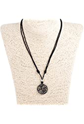 Adjustable Corded Necklace with Tree of Life Pendant