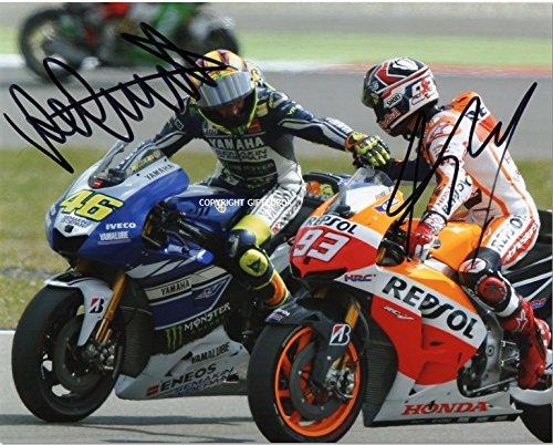 ÉDITION LIMITÉE VALENTINO ROSSI MARC MARQUEZ PHOTO CERT MOTO GP 46 93 SIGNÉ AUTOGRAPHE IMPRIMÉ SIGNATURE SIGNIERT AUTOGRAM