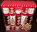 10 Red & White Gingerbread Shapes Christmas Crackers