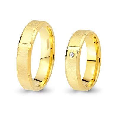 2 Wedding Rings / Friendship Rings 333 Yellow Gold with Zirconia CC0653331
