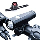 lychee Super Bright Bike Light Set 1200 Lumens Rechargeable Outdoor Riding Bicycle Night Lights - Fits All Bicycles,Hybrid, Road, MTB Easy Install & Quick Release,Tail Lights Free for You