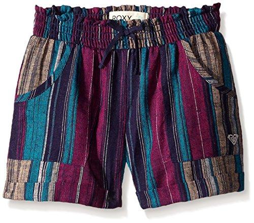 Roxy Girl Yarn Dyed Beach Stripe Shorts, Eclipse,14