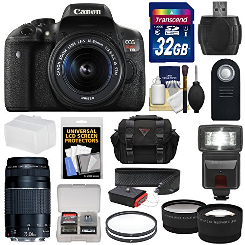 Canon EOS Rebel T6i Wi-Fi Digital SLR Camera  &  18-55mm IS STM  &  75-300mm III Lens with 32GB Card + Case + Filters + Flash + Tele/Wide Lens Kit