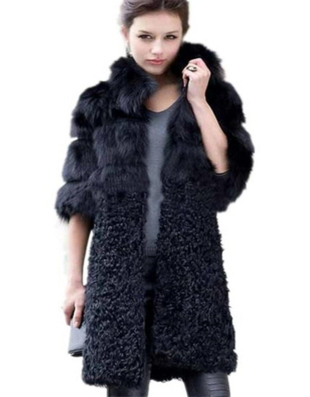 YR Lover Damen Schaf Wolle & Fuchs Pelz Kragen Mantels Jacke jetzt kaufen