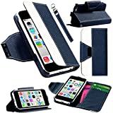 myLife Prussian Blue and White {Classic Design} Faux Leather (Card, Cash and ID Holder + Magnetic Closing + Hand Strap) Slim Wallet for the iPhone 5C Smartphone by Apple (External Textured Synthetic Leather with Magnetic Clip + Internal Secure Snap In Hard Rubberized Bumper Holder)