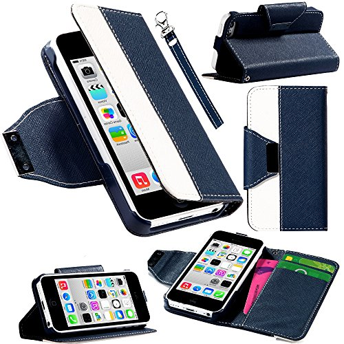 Mylife Prussian Blue And White {Classic Design} Faux Leather (Card, Cash And Id Holder + Magnetic Closing + Hand Strap) Slim Wallet For The Iphone 5C Smartphone By Apple (External Textured Synthetic Leather With Magnetic Clip + Internal Secure Snap In Har front-64158