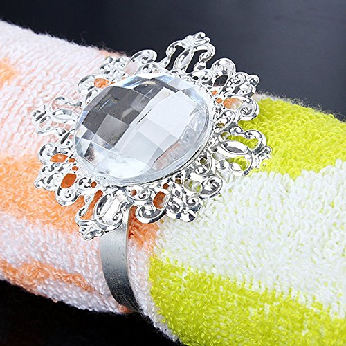 Crazy Genie Vintage Style 12pcs Bling Napkin Rings Serviette Holder Wedding Party Banquet Table Dinner Decor Adornment (Clear & Silver)