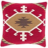 "18"" Cardinal Red, Caramel Brown, Ivory and Cocoa Brown Decorative Throw Pillow"