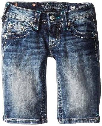 Miss Me Big Girls' Bermudas with Flap Pocket Outline Embellishment, Medium Blue, 7