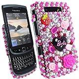 Hot Pink Barbie Diamond Flower Plastic For Blackberry Torch 9800 / 9810 Mobile Phone Case Cover Shel