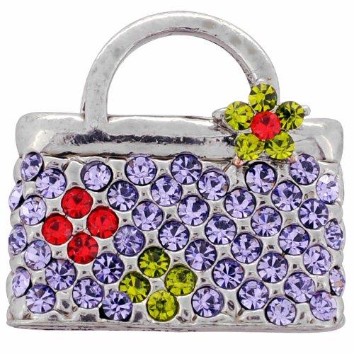 Tanzanite Vintage Style Lady Handbag Pin Swarovski Crystal Fashion Pin Brooch