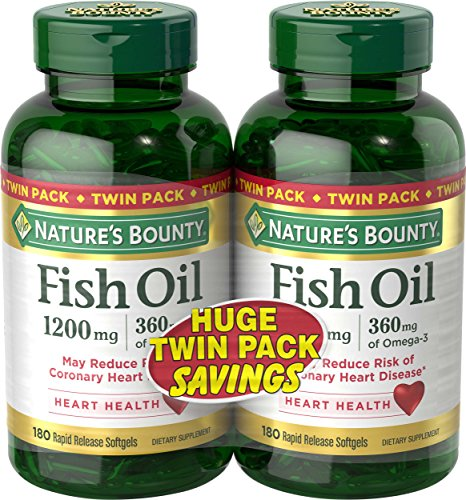 Nature's Bounty Fish Oil 1200 mg Twin Packs, 180 Rapid Release Liguid Softgels (Natures Bounty Omega 3 6 compare prices)