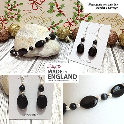 handmade-black-oval-agate-and-cats-eye-bracelet-earrings-jewellery-gift-set-silver-plated-components