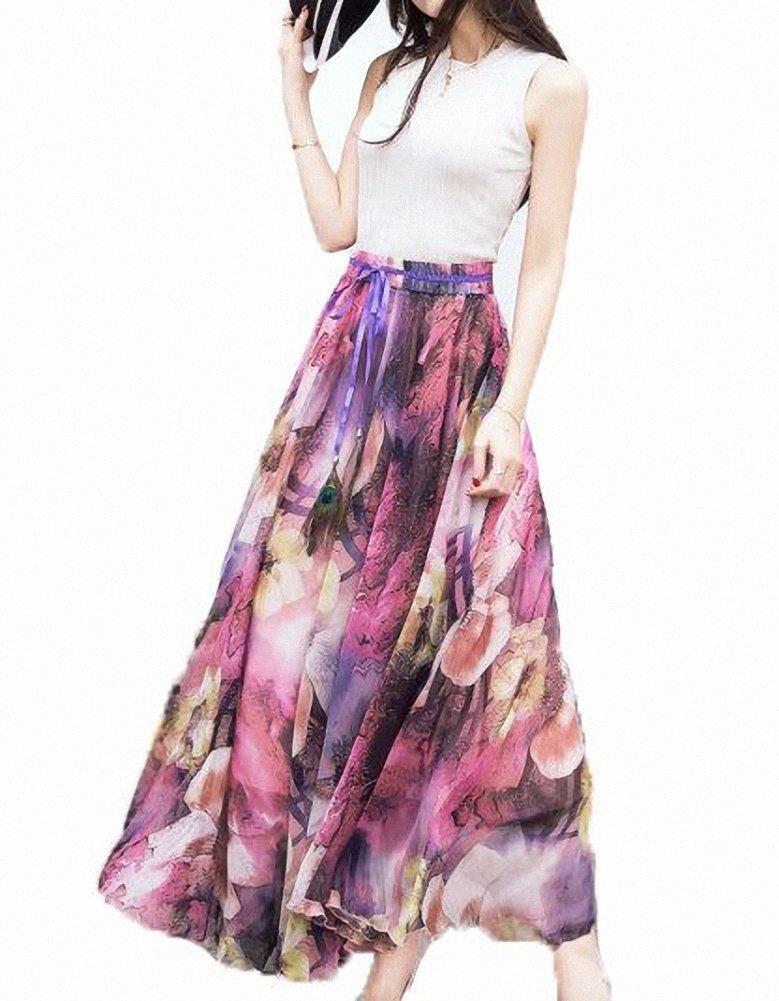 Afibi Womens Blending Chiffon Retro Long Maxi Skirt Vintage Dress 1